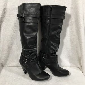 Dolce By Mojo Moxy Black Knee High Heeled Boots